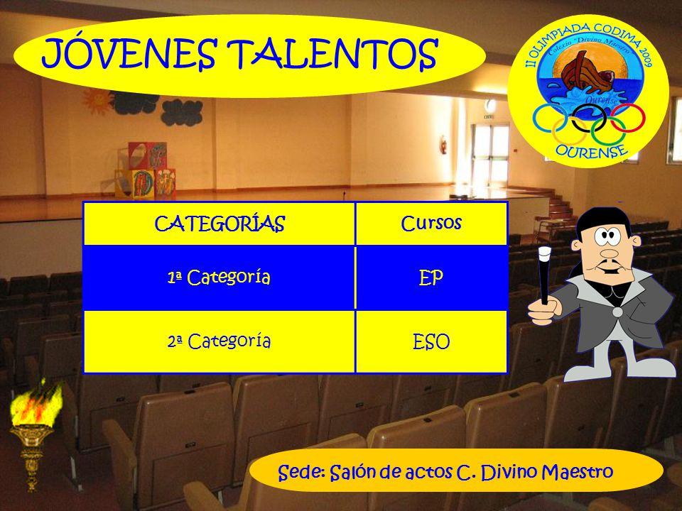 CATEGORÍASCursos 1ª CategoríaEP 2ª CategoríaESO JÓVENES TALENTOS Sede: Salón de actos C. Divino Maestro