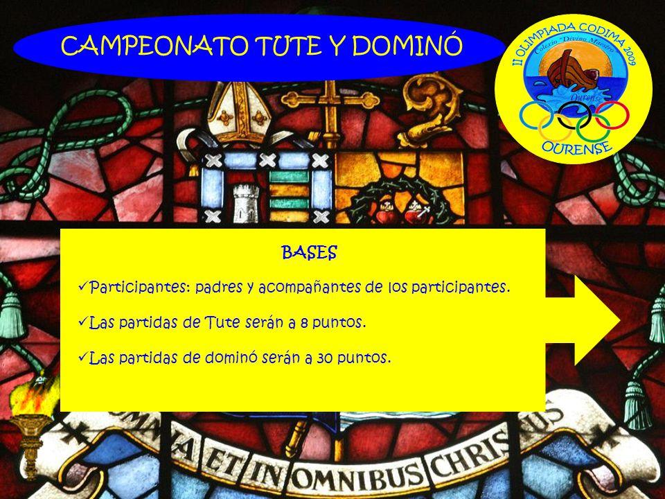CAMPEONATO TUTE Y DOMINÓ BASES Participantes: padres y acompañantes de los participantes. Las partidas de Tute serán a 8 puntos. Las partidas de domin