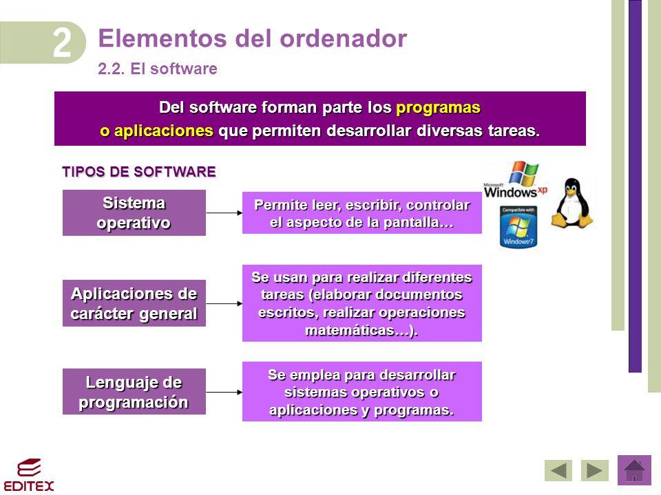 Elementos del ordenador 2.2. El software Del software forman parte los programas o aplicaciones que permiten desarrollar diversas tareas. Sistema oper