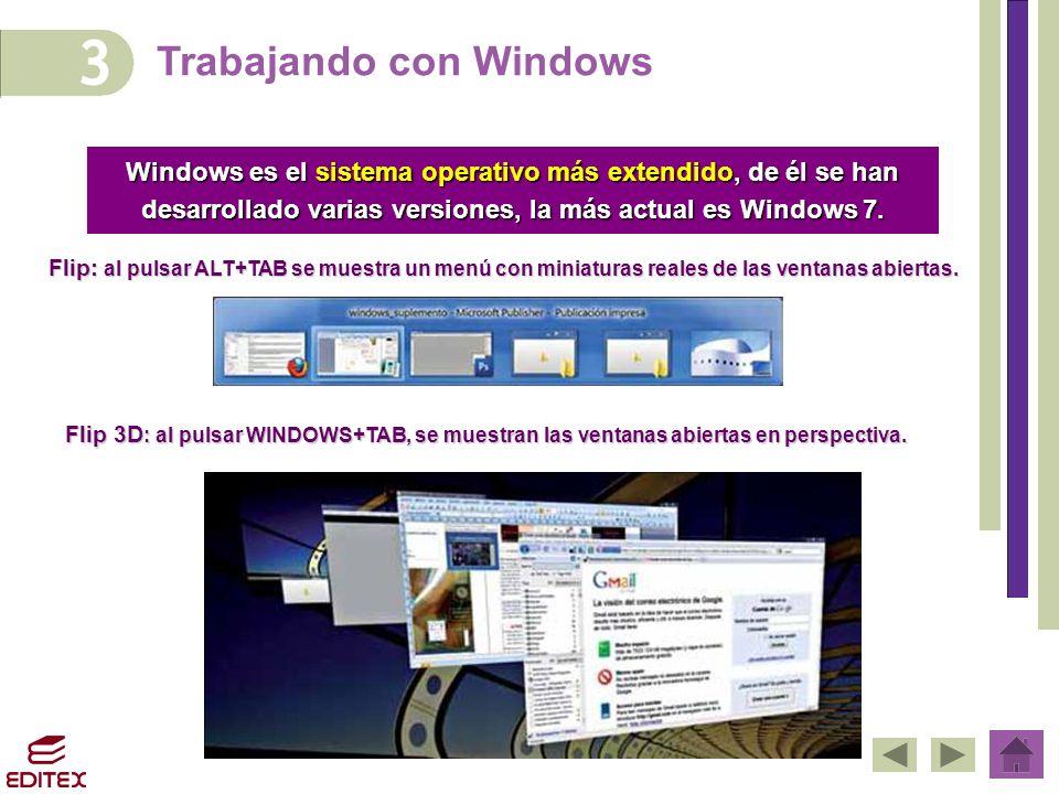 Trabajando con Windows Windows es el sistema operativo más extendido, de él se han desarrollado varias versiones, la más actual es Windows 7. Flip: al