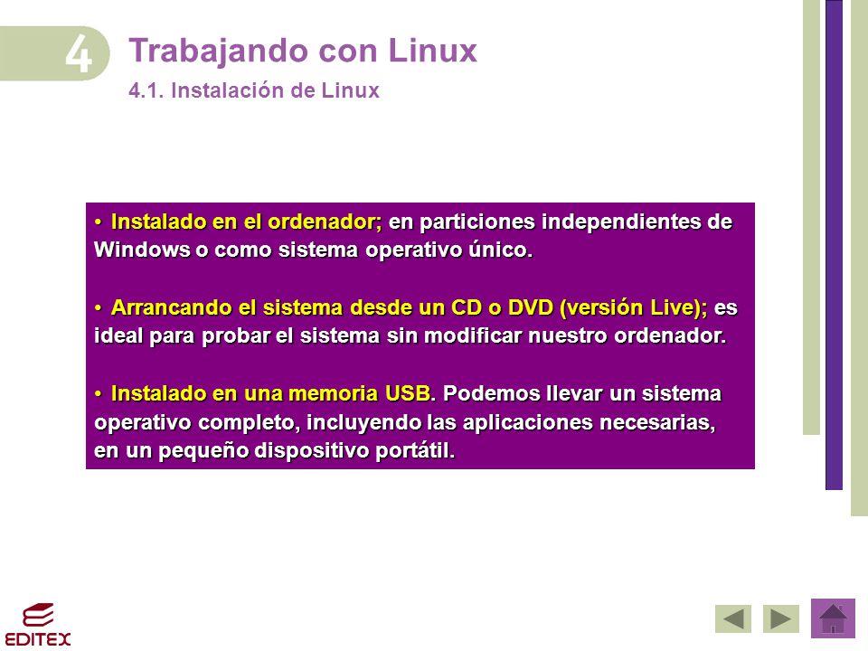 Trabajando con Linux 4.1. Instalación de Linux InstaladoInstalado en el ordenador; en particiones independientes de Windows o como sistema operativo ú