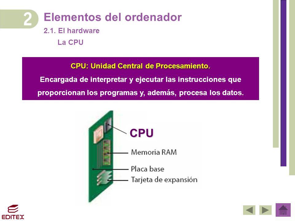 Elementos del ordenador 2.1. El hardware CPU: Unidad Central de Procesamiento. Encargada de interpretar y ejecutar las instrucciones que proporcionan