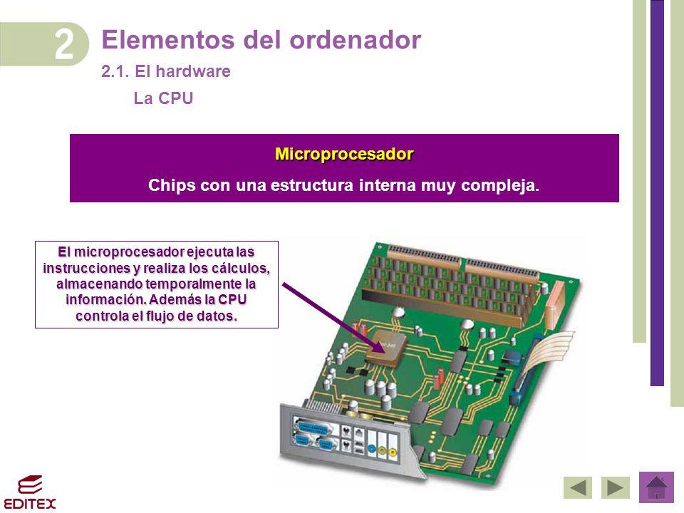 Elementos del ordenador 2.1. El hardware El microprocesador ejecuta las instrucciones y realiza los cálculos, almacenando temporalmente la información