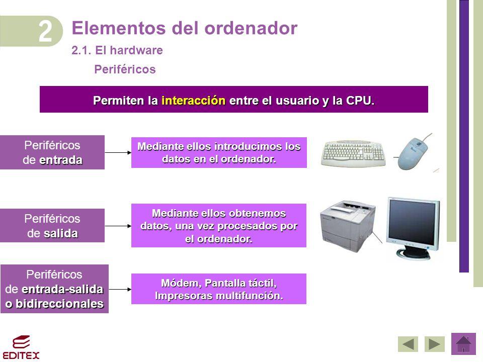 Elementos del ordenador 2.1. El hardware Permiten la interacción entre el usuario y la CPU. Periféricos entrada de entrada Periféricos salida de salid