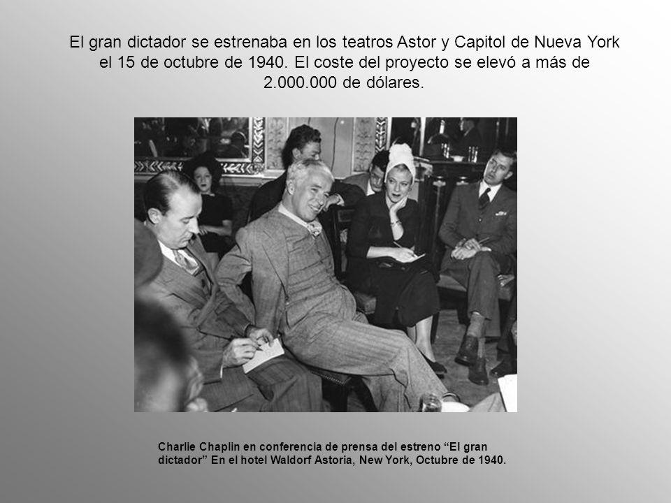 Harry Hopkins, consejero de Roosevelt, que la había visto en una sesión para la prensa, hizo a Chaplin una seria advertencia, aunque la disfrazó pronosticándole que El Gran Dictador le haría perder en publicidad todo su dinero y podía arruinarse.