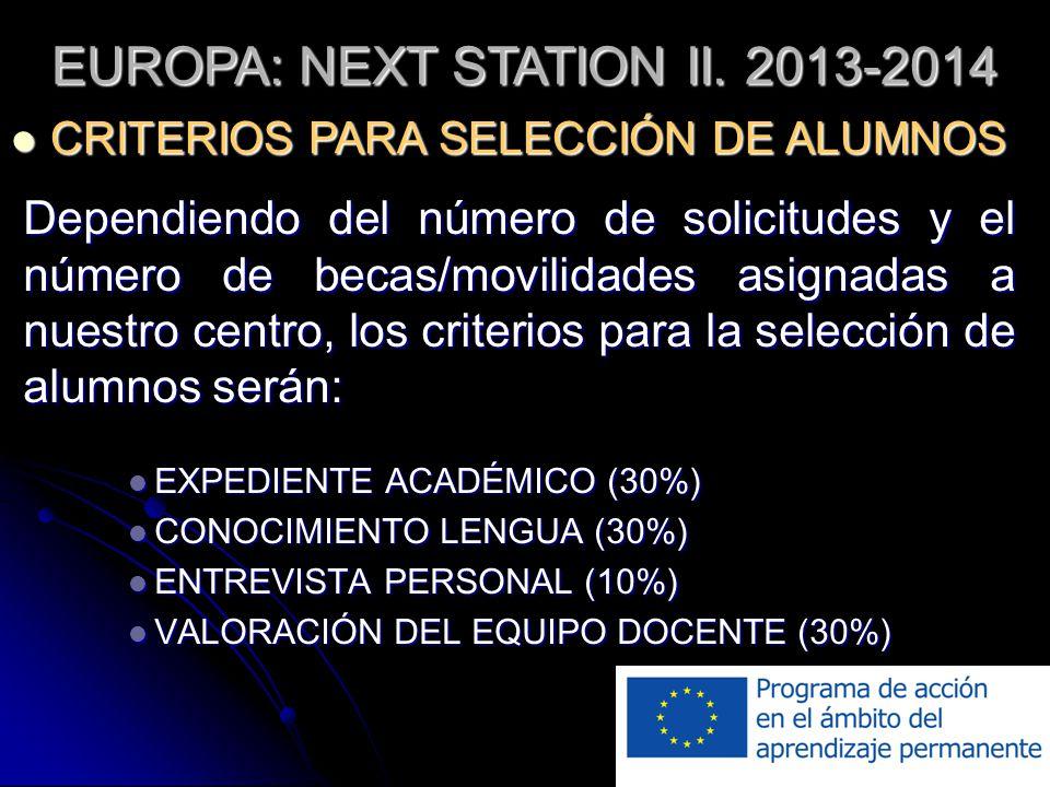 Dependiendo del número de solicitudes y el número de becas/movilidades asignadas a nuestro centro, los criterios para la selección de alumnos serán: EXPEDIENTE ACADÉMICO (30%) EXPEDIENTE ACADÉMICO (30%) CONOCIMIENTO LENGUA (30%) CONOCIMIENTO LENGUA (30%) ENTREVISTA PERSONAL (10%) ENTREVISTA PERSONAL (10%) VALORACIÓN DEL EQUIPO DOCENTE (30%) VALORACIÓN DEL EQUIPO DOCENTE (30%) EUROPA: NEXT STATION II.