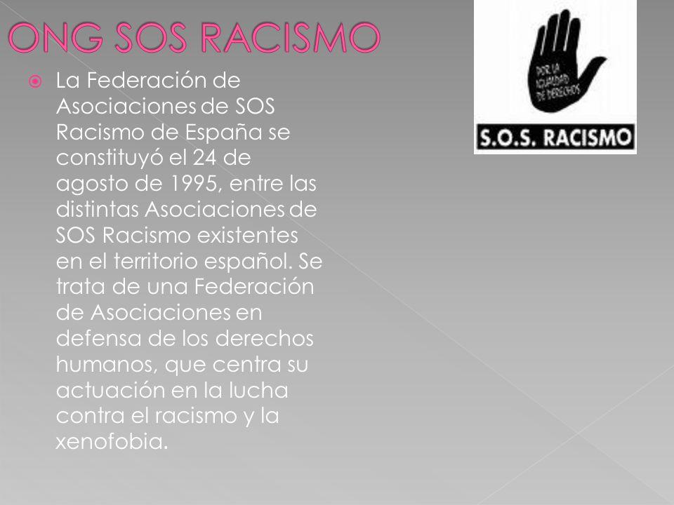 La Federación de Asociaciones de SOS Racismo de España se constituyó el 24 de agosto de 1995, entre las distintas Asociaciones de SOS Racismo existent