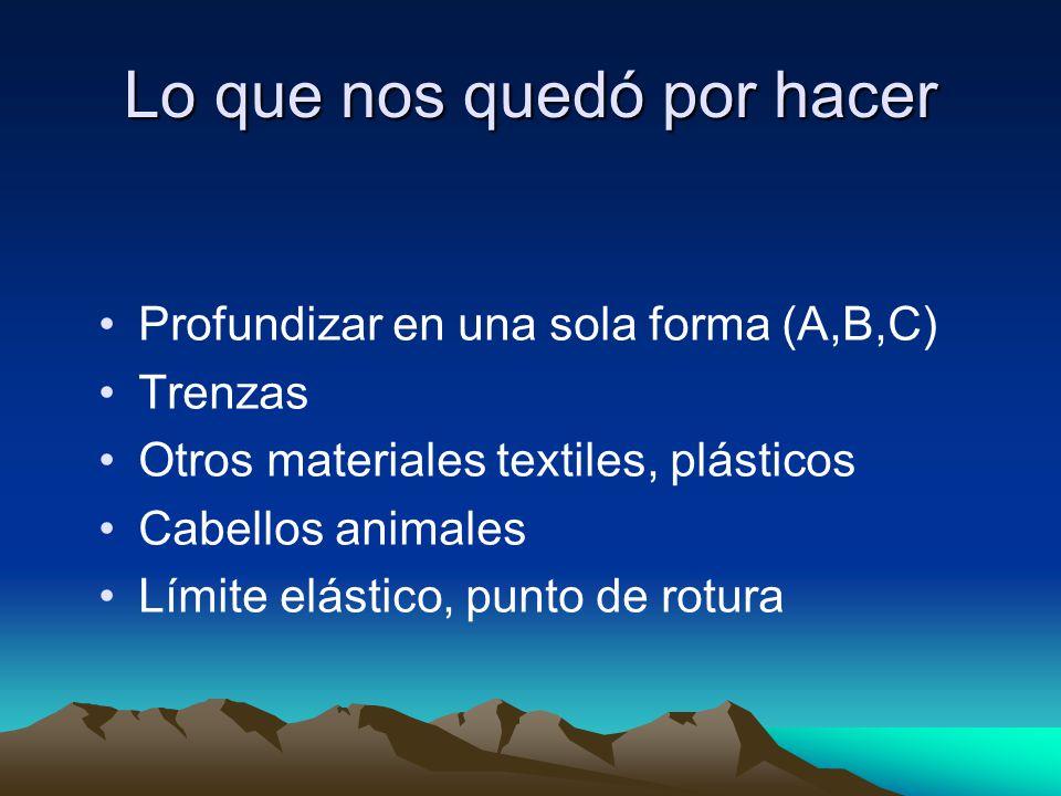 Lo que nos quedó por hacer Profundizar en una sola forma (A,B,C) Trenzas Otros materiales textiles, plásticos Cabellos animales Límite elástico, punto de rotura