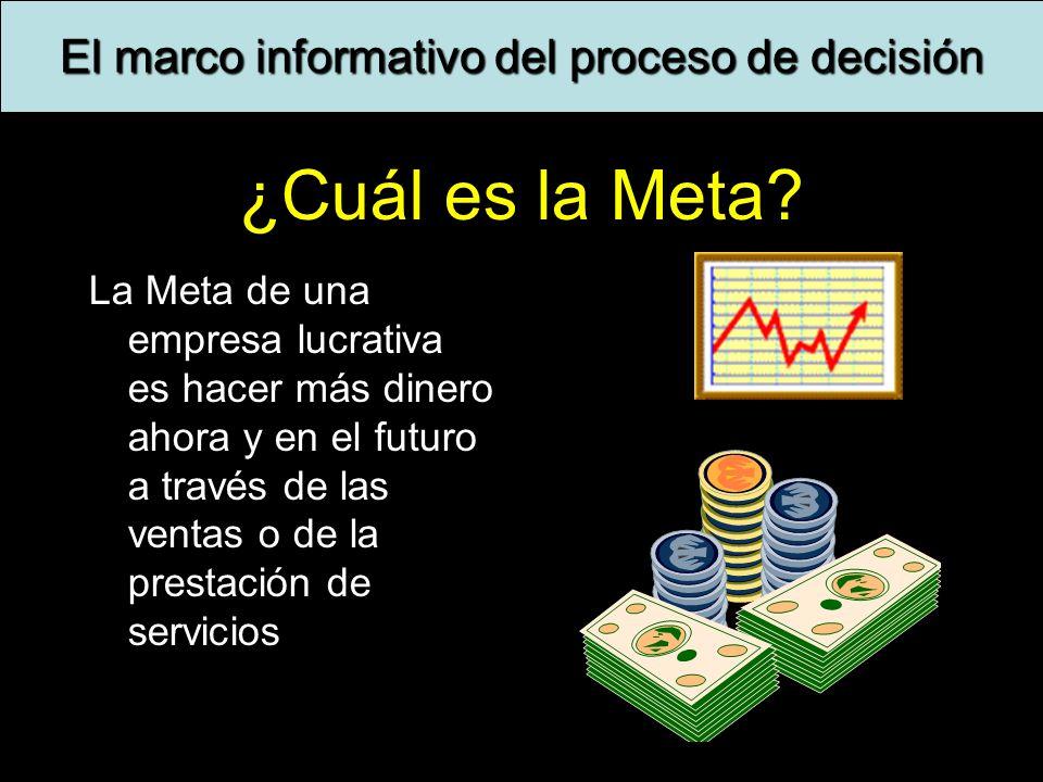 9 ¿Cuál es la Meta? La Meta de una empresa lucrativa es hacer más dinero ahora y en el futuro a través de las ventas o de la prestación de servicios E
