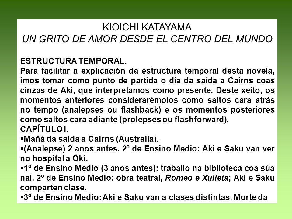 KIOICHI KATAYAMA UN GRITO DE AMOR DESDE EL CENTRO DEL MUNDO ESTRUCTURA TEMPORAL. Para facilitar a explicación da estructura temporal desta novela, imo