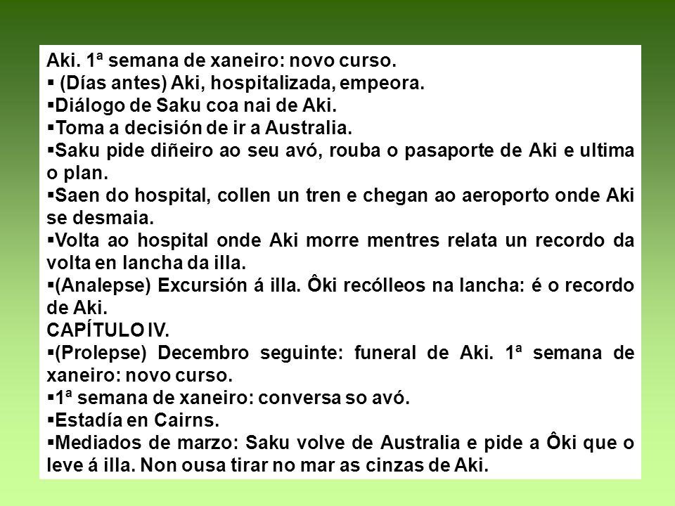 Aki. 1ª semana de xaneiro: novo curso. (Días antes) Aki, hospitalizada, empeora. Diálogo de Saku coa nai de Aki. Toma a decisión de ir a Australia. Sa