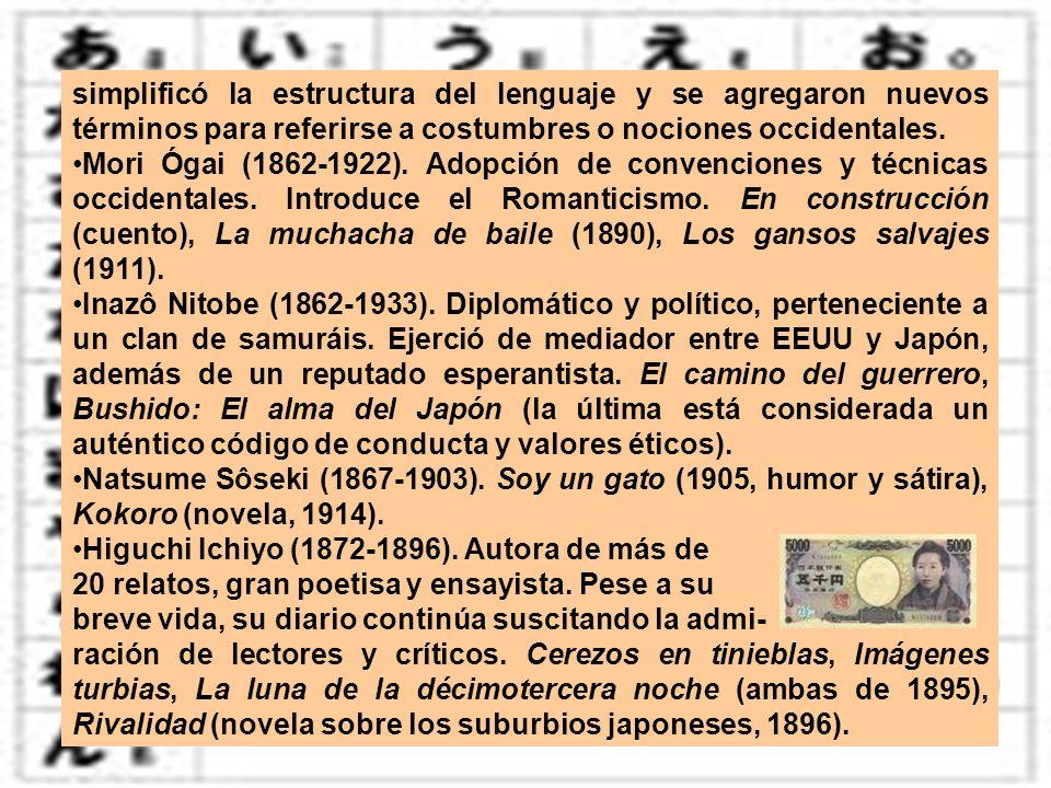 simplificó la estructura del lenguaje y se agregaron nuevos términos para referirse a costumbres o nociones occidentales. Mori Ógai (1862-1922). Adopc