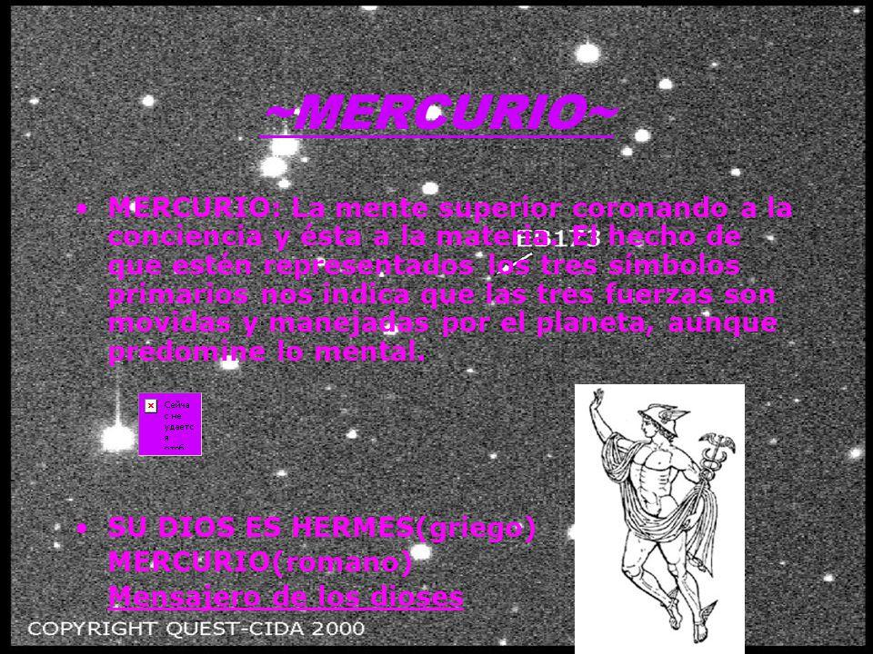 ~MERCURIO~ MERCURIO: La mente superior coronando a la conciencia y ésta a la materia.