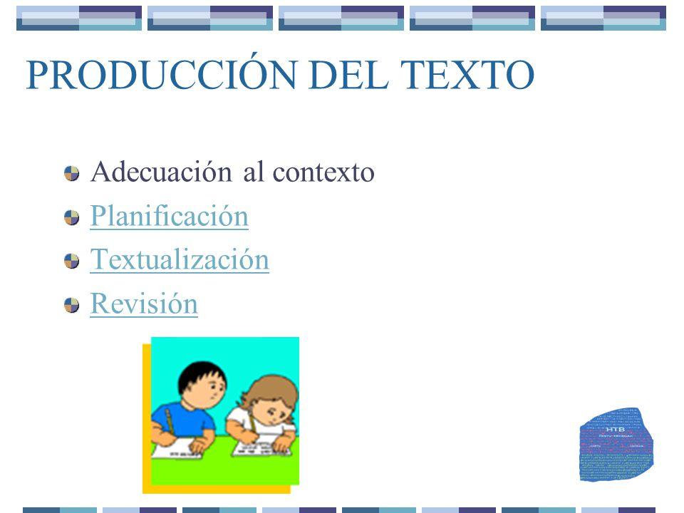 PRODUCCIÓN DEL TEXTO Adecuación al contexto Planificación Textualización Revisión