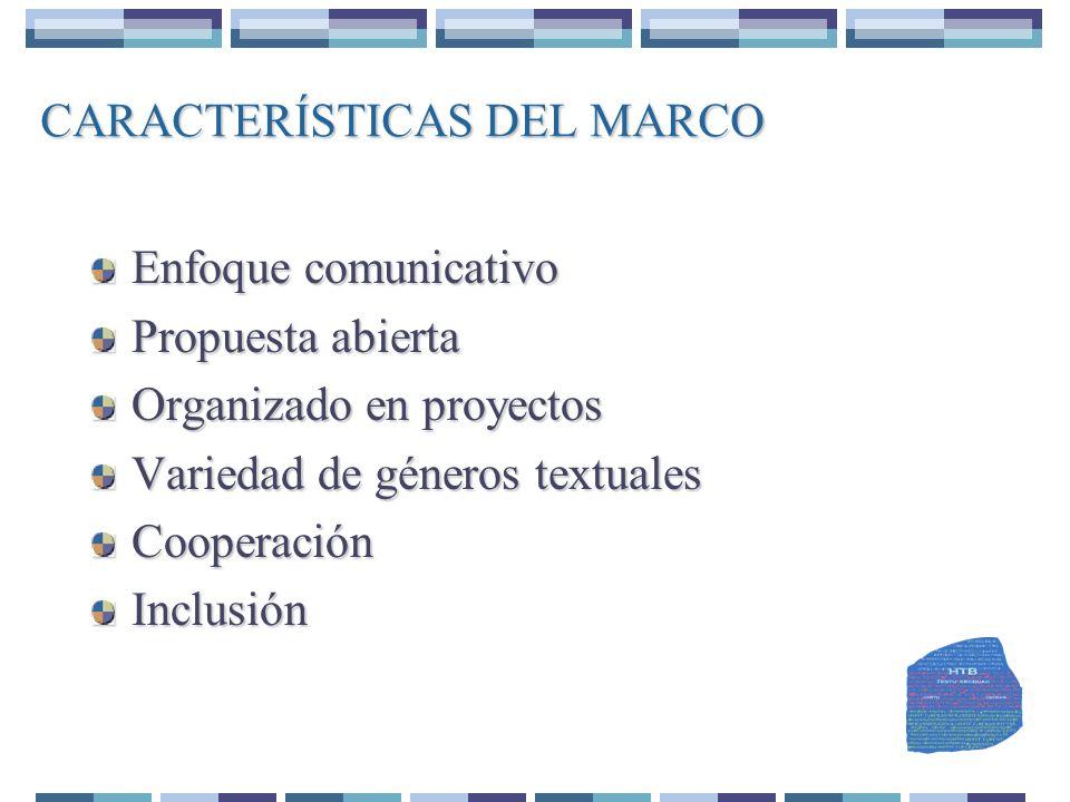 CARACTERÍSTICAS DEL MARCO Enfoque comunicativo Propuesta abierta Organizado en proyectos Variedad de géneros textuales CooperaciónInclusión