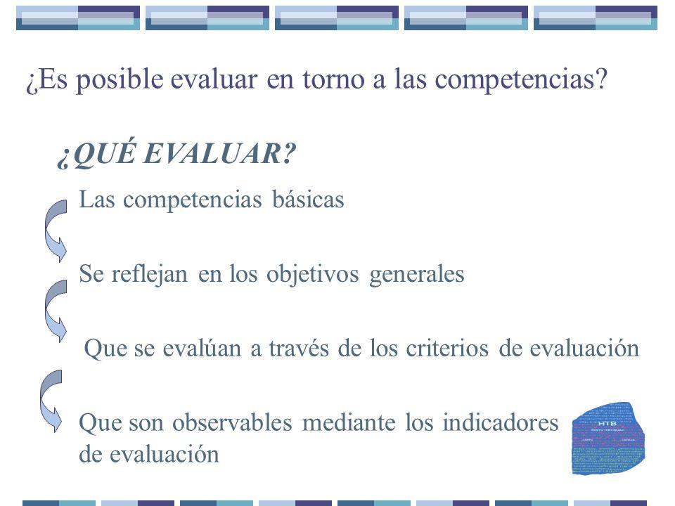 ¿Es posible evaluar en torno a las competencias? ¿QUÉ EVALUAR? Las competencias básicas Se reflejan en los objetivos generales Que se evalúan a través