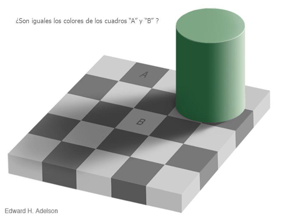 ¿Son iguales los colores de los cuadros A y B ?