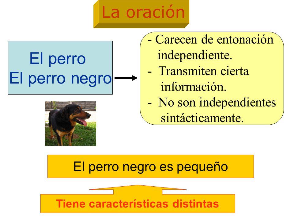 El perro negro es pequeño -Transmite un mensaje con sentido completo - Posee entonación independiente, enmarcada entre dos pausas.