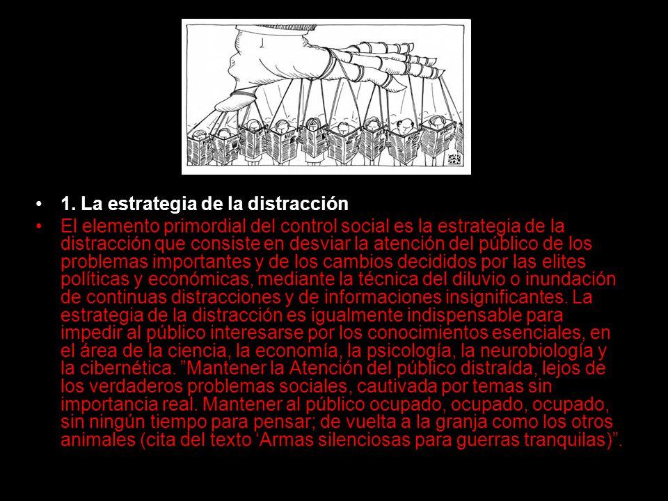 1. La estrategia de la distracción El elemento primordial del control social es la estrategia de la distracción que consiste en desviar la atención de
