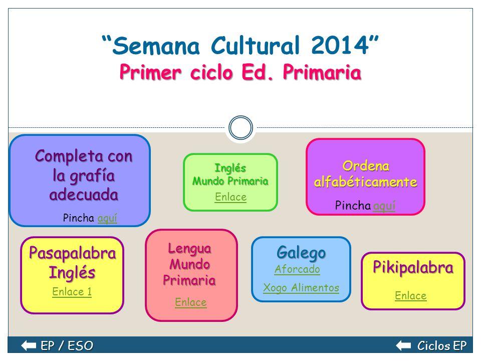 Semana Cultural 2014 Educación Primaria Primer ciclo Primer ciclo Tercer ciclo Tercer ciclo Segundo ciclo Segundo ciclo
