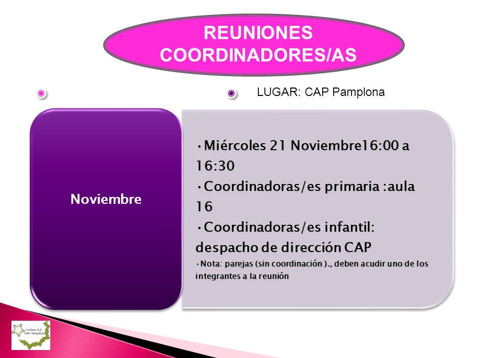 REUNIONES COORDINADORES/AS Miércoles 21 Noviembre16:00 a 16:30 Coordinadoras/es primaria :aula 16 Coordinadoras/es infantil: despacho de dirección CAP