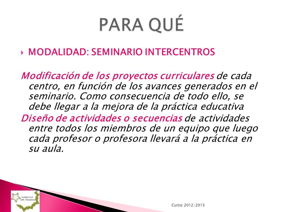 MODALIDAD: SEMINARIO INTERCENTROS Modificación de los proyectos curriculares de cada centro, en función de los avances generados en el seminario. Como