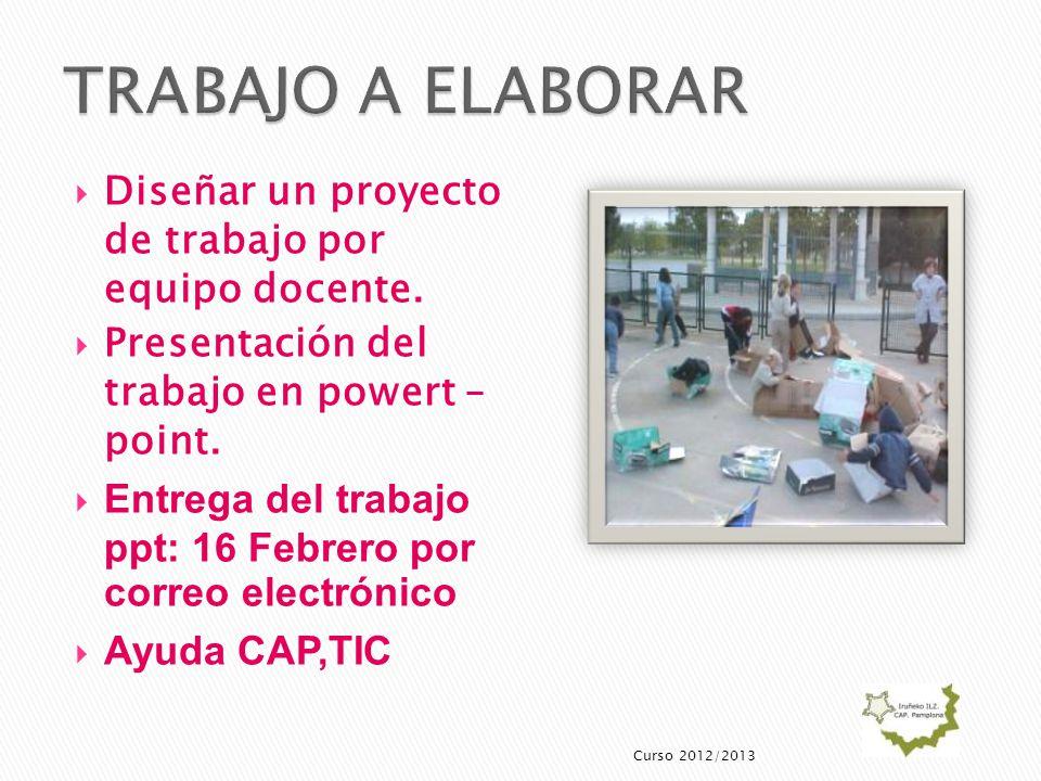 Diseñar un proyecto de trabajo por equipo docente. Presentación del trabajo en powert – point. Entrega del trabajo ppt: 16 Febrero por correo electrón