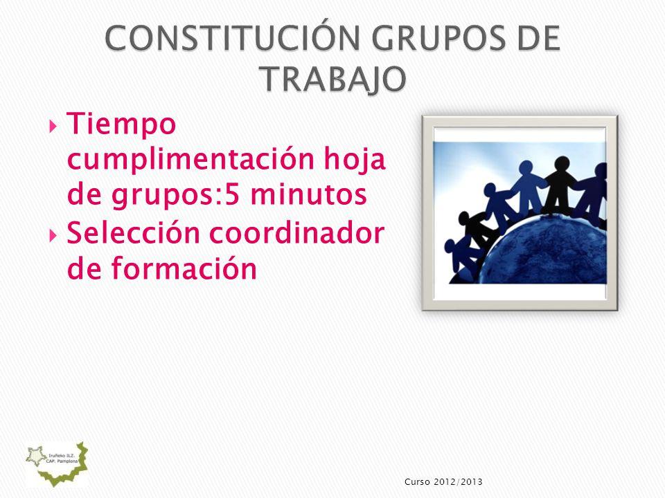 Tiempo cumplimentación hoja de grupos:5 minutos Selección coordinador de formación Curso 2012/2013