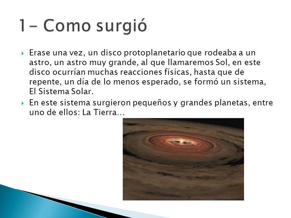 Erase una vez, un disco protoplanetario que rodeaba a un astro, un astro muy grande, al que llamaremos Sol, en este disco ocurrían muchas reacciones f