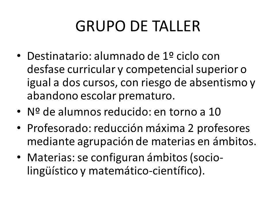 GRUPO DE TALLER Destinatario: alumnado de 1º ciclo con desfase curricular y competencial superior o igual a dos cursos, con riesgo de absentismo y aba