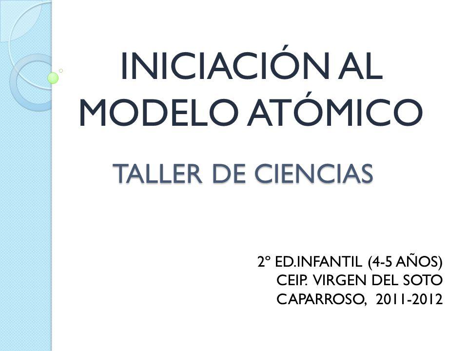 TALLER DE CIENCIAS INICIACIÓN AL MODELO ATÓMICO 2º ED.INFANTIL (4-5 AÑOS) CEIP. VIRGEN DEL SOTO CAPARROSO, 2011-2012