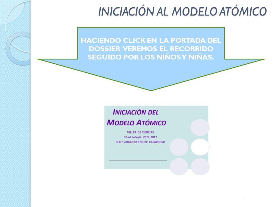 INICIACIÓN AL MODELO ATÓMICO HACIENDO CLICK EN LA PORTADA DEL DOSSIER VEREMOS EL RECORRIDO SEGUIDO POR LOS NIÑOS Y NIÑAS.