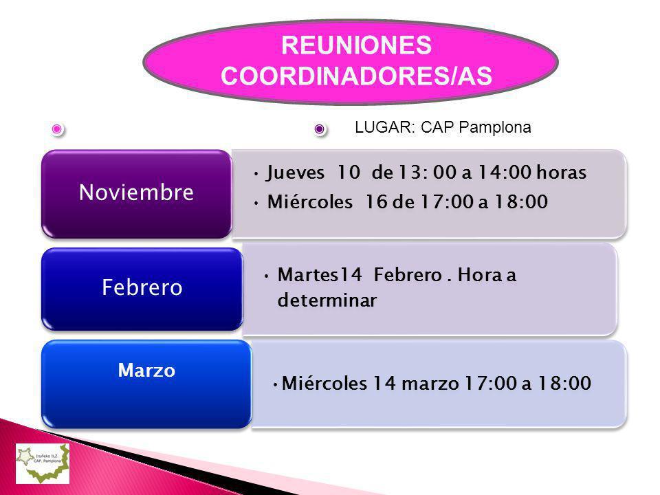 REUNIONES COORDINADORES/AS Jueves 10 de 13: 00 a 14:00 horas Miércoles 16 de 17:00 a 18:00 Noviembre Martes14 Febrero.