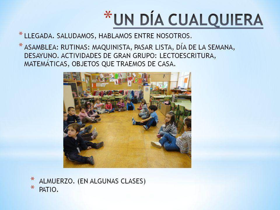 DESPUÉS DEL PATIO: * ALMUERZO (EN ALGUNAS CLASES) * ASAMBLEA: HABLAMOS DE LO QUE HEMOS HECHO EN EL PATIO, RESOLUCIÓN DE CONFLICTOS.