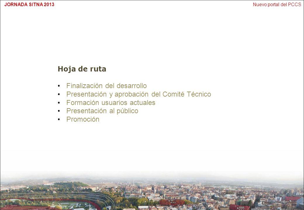 Nuevo portal del PCCSJORNADA SITNA 2013 Hoja de ruta Finalización del desarrollo Presentación y aprobación del Comité Técnico Formación usuarios actua