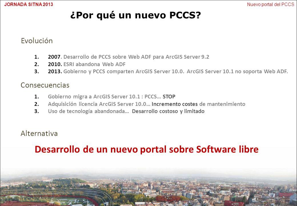 Nuevo portal del PCCSJORNADA SITNA 2013 ¿Por qué un nuevo PCCS? Evolución 1.2007. Desarrollo de PCCS sobre Web ADF para ArcGIS Server 9.2 2.2010. ESRI