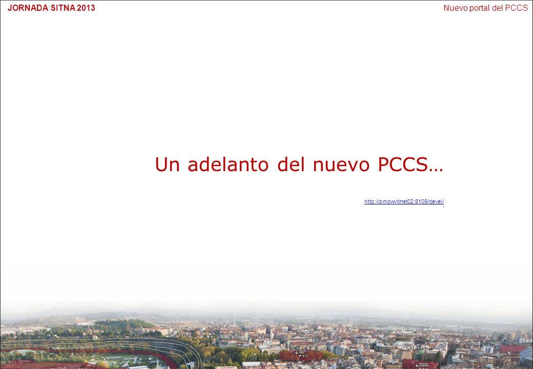Nuevo portal del PCCSJORNADA SITNA 2013 Hoja de ruta Finalización del desarrollo Presentación y aprobación del Comité Técnico Formación usuarios actuales Presentación al público Promoción