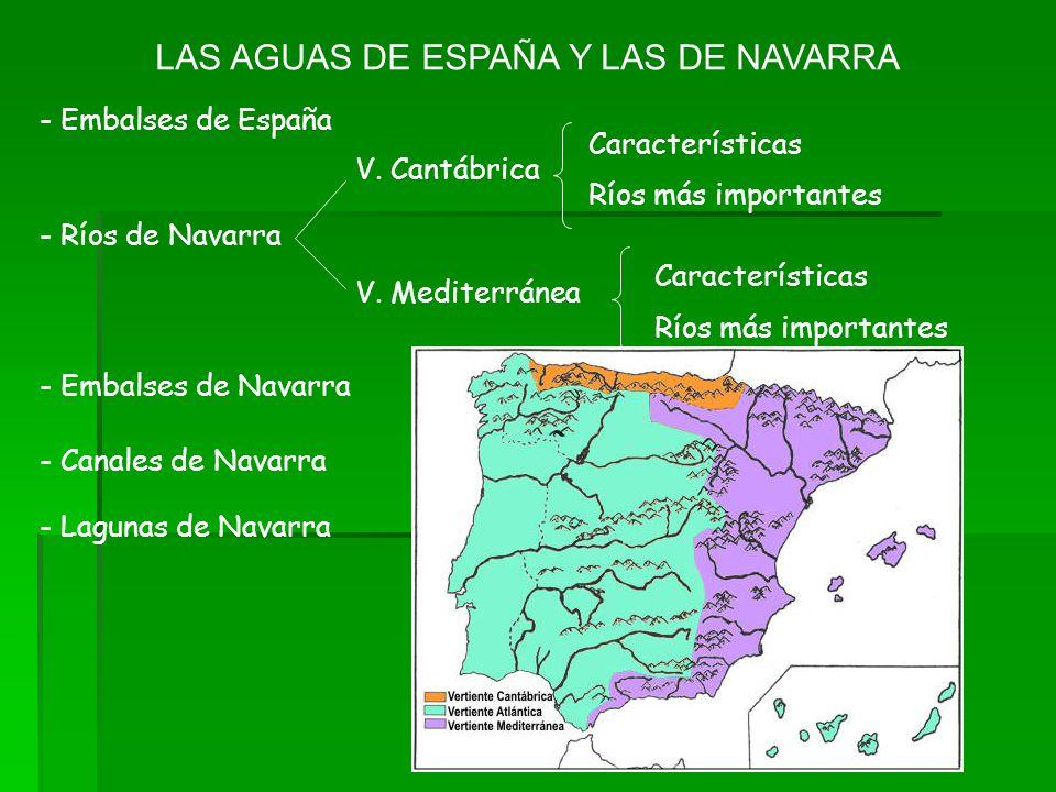 LAS AGUAS DE ESPAÑA Y LAS DE NAVARRA - Embalses de España - Ríos de Navarra V. Cantábrica Características Ríos más importantes V. Mediterránea Caracte