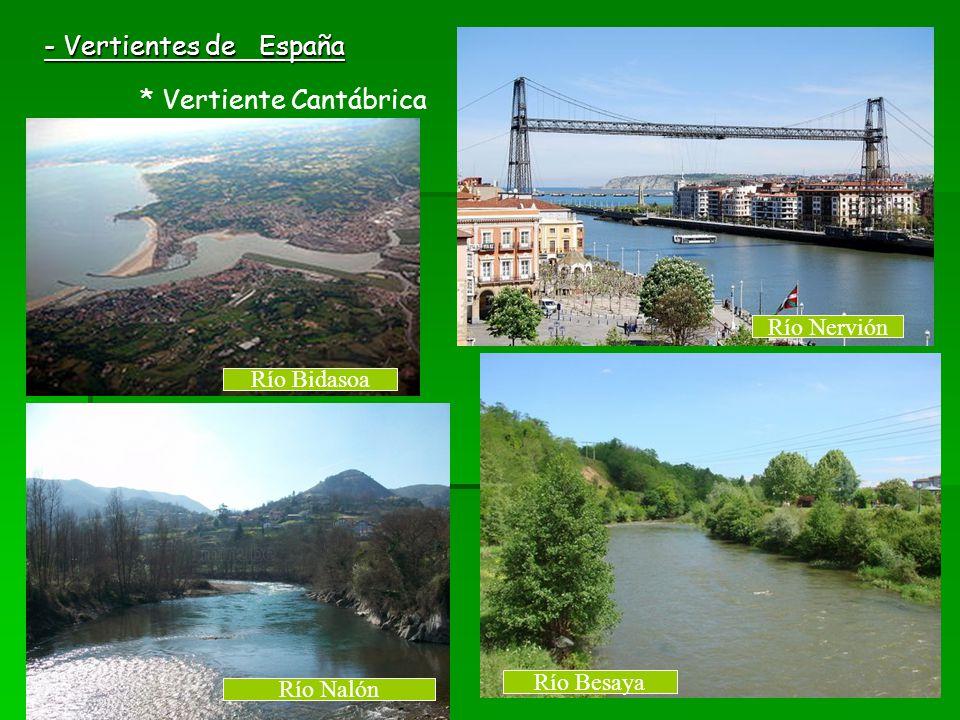 - Vertientes de España * Vertiente Cantábrica Río Besaya Río Bidasoa Río Nervión Río Nalón