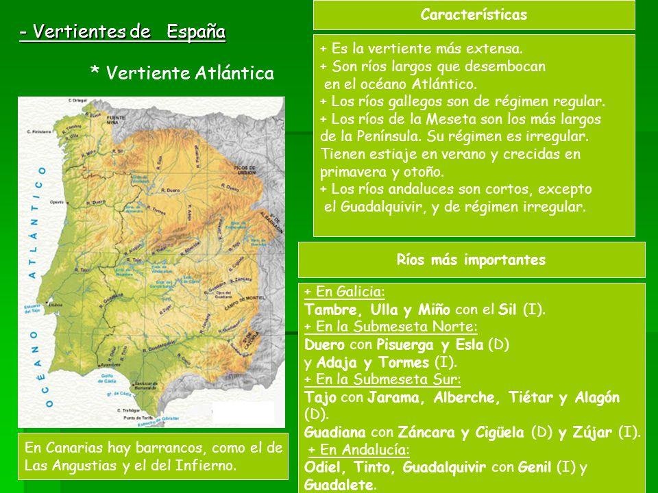 - Vertientes de España * Vertiente Atlántica Características + Es la vertiente más extensa. + Son ríos largos que desembocan en el océano Atlántico. +