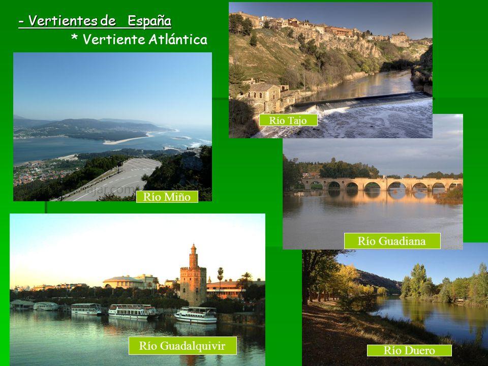 - Vertientes de España * Vertiente Atlántica Río Miño Río Duero Río Guadiana Río Guadalquivir Río Tajo