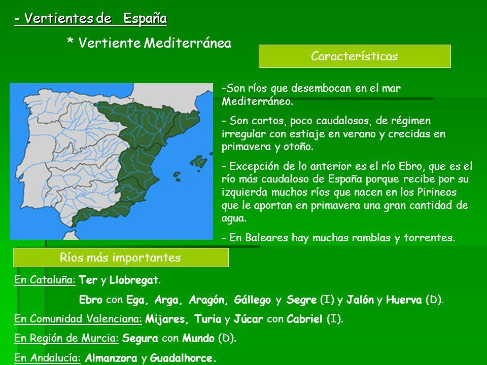 - Vertientes de España * Vertiente Mediterránea Características -Son ríos que desembocan en el mar Mediterráneo. - Son cortos, poco caudalosos, de rég