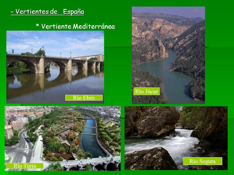 - Vertientes de España * Vertiente Mediterránea Río Ebro Río Turia Río Júcar Río Segura