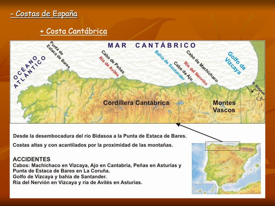 - Costas de España + Costa Cantábrica Cabo Matxitxako Golfo de Vizcaya Ría de Avilés Estaca de Bares