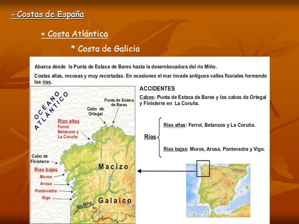 - Costas de España + Costa Atlántica * Costa de Galicia Ría de Vigo Cabo Fisterra