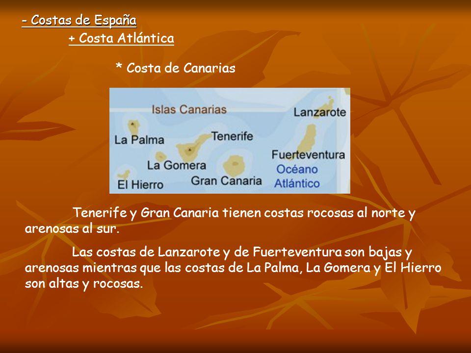 - Costas de España + Costa Atlántica * Costa de Canarias Playa de Las Canteras (Las Palmas) Playa en la isla de Tenerife Playa en la isla de Lanzarote Playa en la isla del Hierro