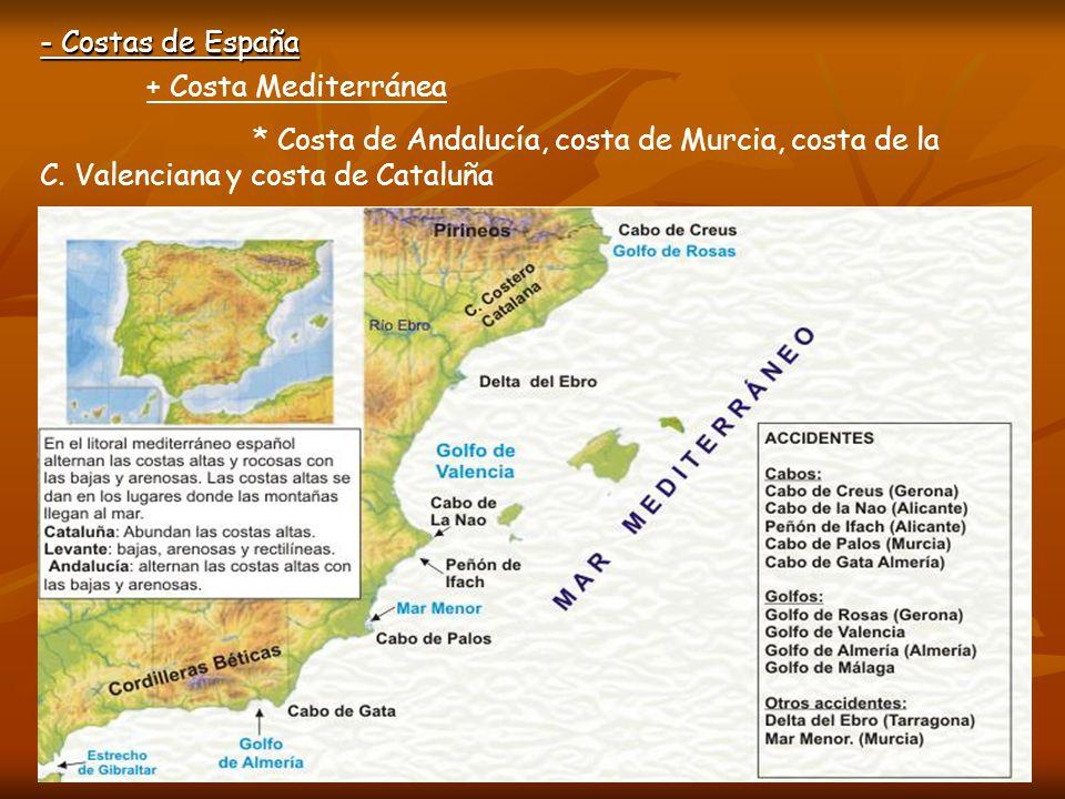 - Costas de España + Costa Mediterránea * Costa de Andalucía, costa de Murcia, costa de la C.