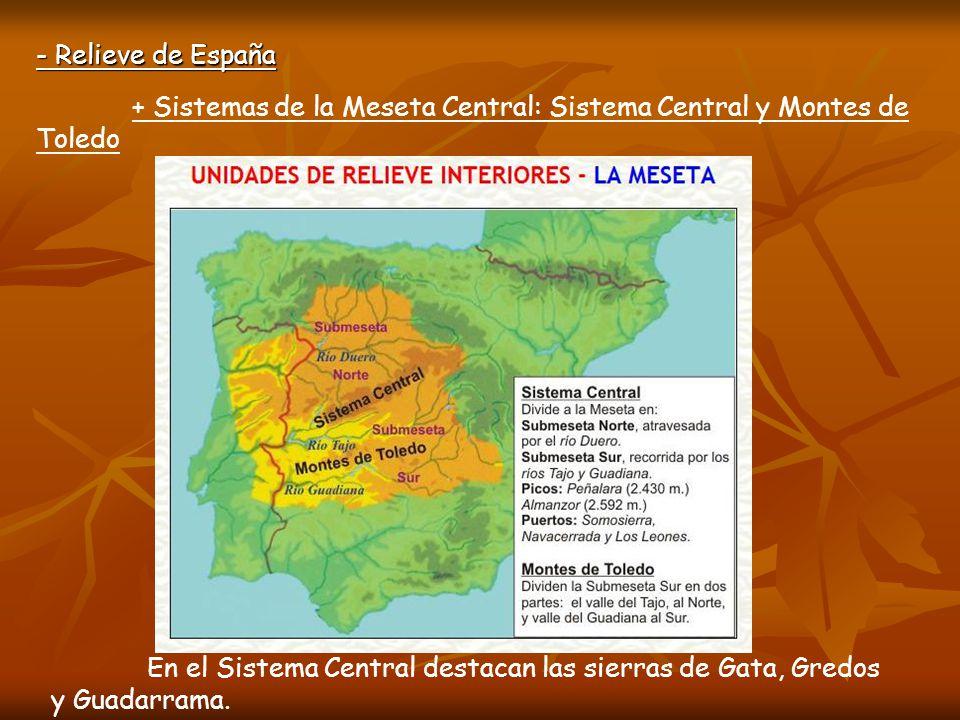 + Sistemas de la Meseta Central: Sistema Central y Montes de Toledo - Relieve de España S.