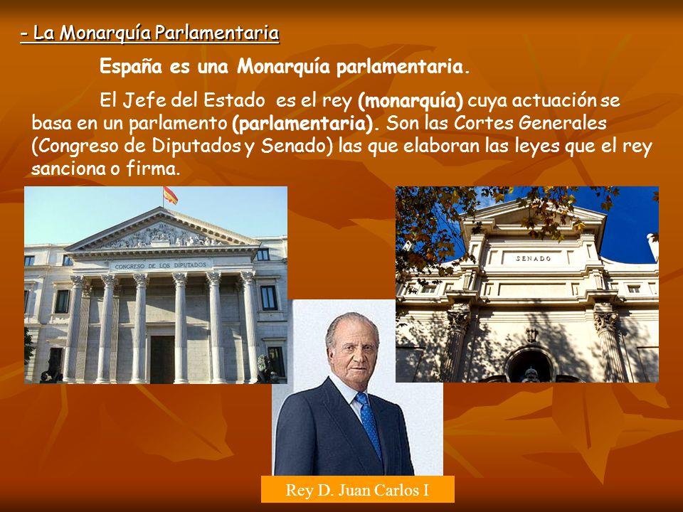 - La Monarquía Parlamentaria España es una Monarquía parlamentaria. El Jefe del Estado es el rey (monarquía) cuya actuación se basa en un parlamento (