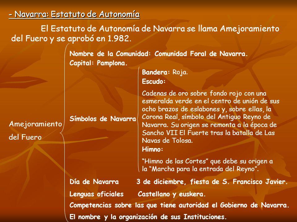 - Navarra: Estatuto de Autonomía El Estatuto de Autonomía de Navarra se llama Amejoramiento del Fuero y se aprobó en 1.982. Amejoramiento del Fuero No